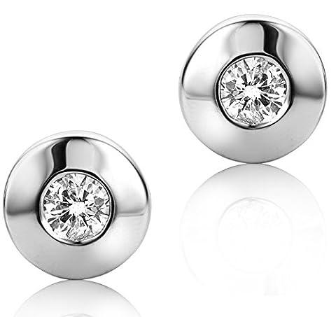 Diamada Femme or blanc en diamant solitaire boucles d'oreilles 9kt (375) brillant 0.1cts