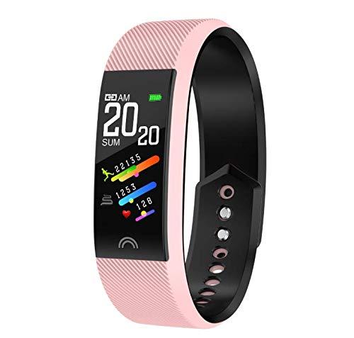 ForUUU Pulsera Actividad, Pulsera Inteligente Impermeable con Monitor de Ritmo Cardíaco, Reloj Inteligente para Mujer Hombre y Niño. Compatible con iOS y Android (Rosa)