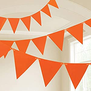 Amscan International- Cinta decorativa, Color 10m plastic pennant banner - orange (9903794)