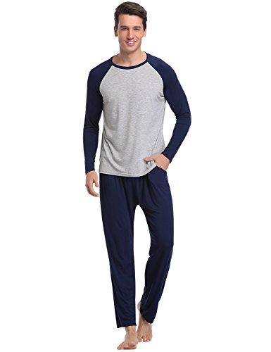 Aibrou pigiama uomo lungo in cotone, set pigiama due pezzi da uomo invernale, maniche lunghe in cotone