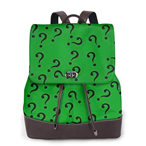 Flyup Damen PU Leder Rucksack Question Mark in Green Women's Genuine Leather Backpack Purse Light School Large Space Shoulder Bag