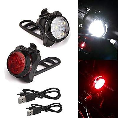 About1988 LED Fahrradlicht Set, USB Wiederaufladbare Fahrradleuchte, Fahrradlampe Fahrradlicht, Rücklicht, Aufladbare Fahrradlichter mit 5 blinkenden Modi, 2 USB-Kabel