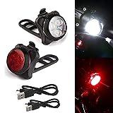 Fahrrad Licht Kopf Lampe | 3 LED Kopf Vorne mit USB Wiederaufladbare Schwanz Clip Licht Radfahren Fahrrad | Scheinwerfer Frontleuchte Sicherheitslicht IPX6 Wasserdichte | für Reiten (Schwarz)