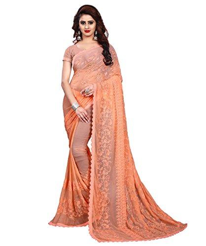 Being Banarasi Chiffon Saree With Blouse Piece (1258_D_Orange_Free Size)