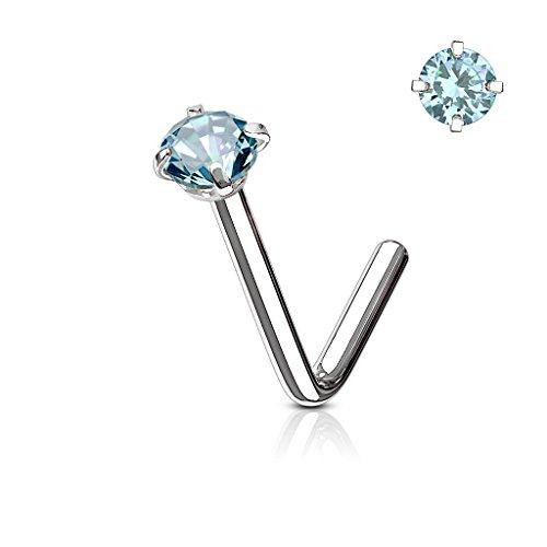 BodyJewelryonline Erwachsenen Nase Ring Stud L förmige chirurgische Stahlschraube Piercing CZ Gem 1pc 20G 18G 6MM (Silber - leichte blaue CZ, 20) (L-förmige Nase Ringe 3mm)