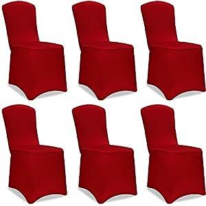 Deuba Stuhlhussen Stretch 6er Set Dehnbar Bordeaux Rot Weihnachten Hochzeiten Events Universal Husse Stuhlbezug Stuhlüberzug