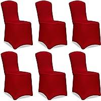 Stuhlhussen Universell Husse Stretch Stuhlbezug Stuhlüberzug Stuhlüberwurf Hochzeiten, Partys oder Events | Setauswahl | 6er Set | dehnbar | Farbe Bordeaux-Rot