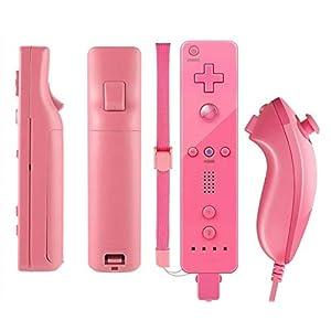 Amo® WII Controller für Nintendo Wii Remote WII Spiele, inkl. Silikonhülle und Gurt, Hot Pink