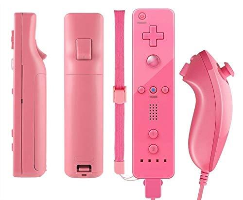 Amo® WII Controller für Nintendo Wii Remote WII Spiele, inkl. Silikonhülle und Gurt, Hot Pink (Plus Wii Remote Pink)