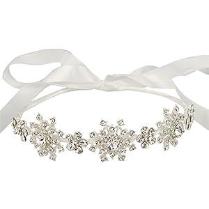 Flyonce Österreichischer Kristall Bridal Boho Schneeflocke Blumenband Haarband Klar Silber-Ton