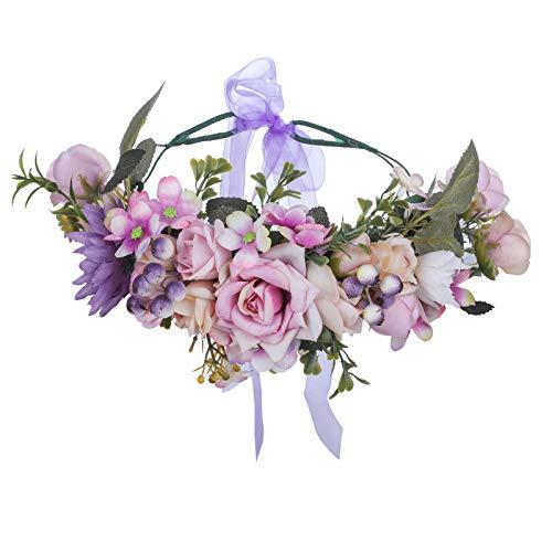 AWAYTR Boho Blumenkrone Stirnband Festival Kopfschmuck - Handgefertigt Blume Haarkranz mit Band Beere Blumenstirnband für Frauen und Mädchen Kleid (Lila + Khaki)