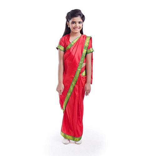 Fancydresswale School Teacher Dress for Kids (Pre-Stitched Red Saree ) (4-5 Years)