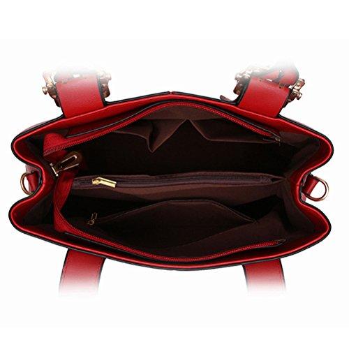 Honeymall Damen Faux Leder Shell Stil Handtaschen Große Frauen Schultertaschen(Gelb) Schwarz