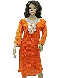 Ratnatraya Leheriya Cotton Silk Orange Kurti For Women | Party Wear Designer Straight Kurtis For Girls And Gift - B077VKW1S6
