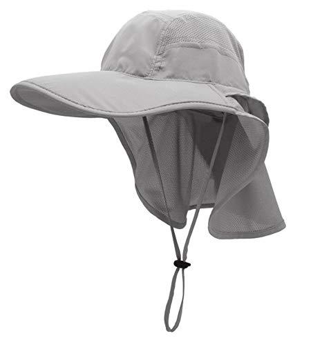gg st Sonnenhut Herren Damen UPF 50+ Outdoor UV Summer Cap mit Nackenschutz Hiking Fischerhut Strand Faltbar Safari Buschhüte Mesh Hat (Grau)