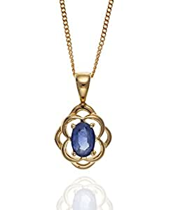 "9ct Gold Celtic Kanchan Sapphire Pendant & 18"" 9ct Gold Curb Chain."
