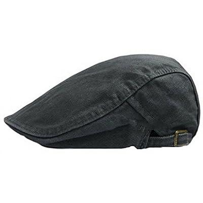 Ukerdo Sólido Denim Ornitorrinco Plano Sombreros Taxista Vendedor de Periódicos Equipado Gorras para Hombre (F)
