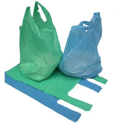 """100 x Strong Blue 'Vest' Style Plastic Carrier Bags - 12"""" x 18"""" x 24"""" (28 micron) Unipack Brand - Unibags Test"""