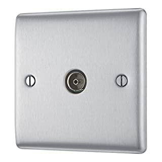 BG Electrical NBS60 Single Metal Brushed Steel Co-axial Socket