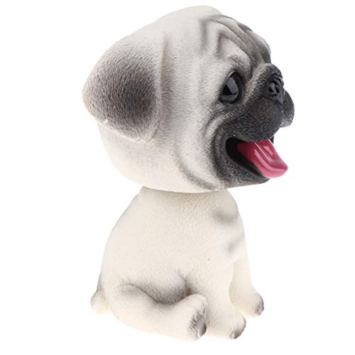 Adorable Resin Bobblehead Puppy Dog Figurine Car Dashboard Decoration Nodding Shaking Head Kids Toy for Home Desk - Pug