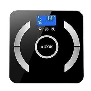 Aicok Personenwaagen, Digitale Körperfettwaage mit 4 x AAA Batterien, Multifunktions-Körperzusammensetzung Messung für Körperfett, Feuchtigkeit, Muskeln, Knochen und so weiter, Bis 180kg/400lbs