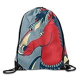 BoJack Horseman Time Drawstring Bag, Drawstring Backpack, Sport Bag, Gymsack, Sackpack, Shoulder Bags for Men Women Teenager Juvenile Adolescent, Size: 17 Inch X 14 Inch