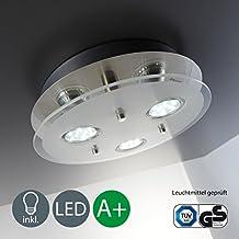 Lámpara de techo led (GU10, 3W, 250lúmenes, orientable, incluye anillo cromado), color níquel mate, níquel mate, redondo, GU10[Clase de eficiencia energética A+]