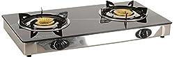 X-Trend GlassTop 2 Burner Gas Stove, Computor Black