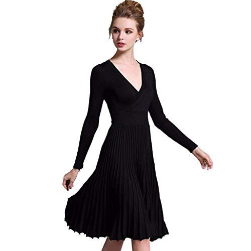 Oudan 2017 Herbst Winter Herbst Kleid freie Größe Frauen A-Linie tiefem V-Ausschnitt plissiert Kleid Vintage Langarm-Strick Plissee Maxi Rock Kleid mit Gürtel von (Farbe : Schwarz)