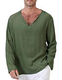 d0c1da7970a Bestow Camiseta de Verano para Hombre Solid Thai Hippie Cuello en V Beach  Yoga Winter Top