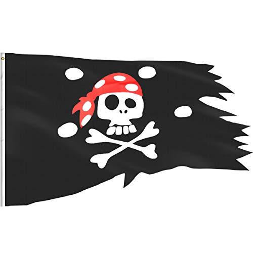 ezakka Flagge Pirat Piraten Totenkopf und gekreuzten Knochen Flaggen für Piraten Party Halloween Dekoration, 2,54x 122cm
