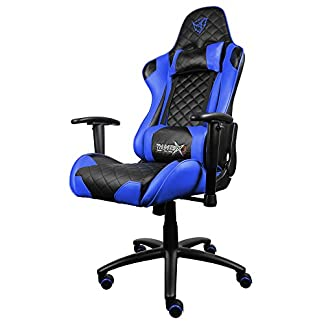 41stpcNRJNL. SS324  - ThunderX3 TGC12BB- Silla gaming profesional- ( Estilo racing, Cuero sintetico, Inclinación y altura regulables, Apoyabrazos, Acolchada, Reposacabezas, Cojín lumbar) Color Azul y Negro