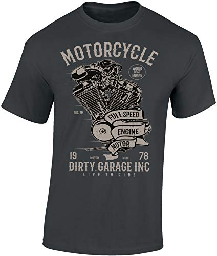Maglietta: Dirty Garage - Moto - Idea regalo per motociclista - Biker T-Shirt - Maglia uomo uomini - Motocicletta - Race - Pilota - Libertà - Chopper - Bike - USA - Anarchy - Centauro( Grigio L)