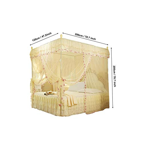 3 Side Openings Post Bed Curtain Canopy Netting Mosquito Net Bedding No Bracket Home Supplies,Beige,1.2M (4 Feet) Bed -