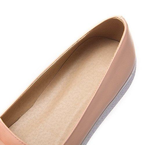 AllhqFashion Femme Pu Cuir à Talon Bas Rond Couleur Unie Tire Chaussures Légeres Rose