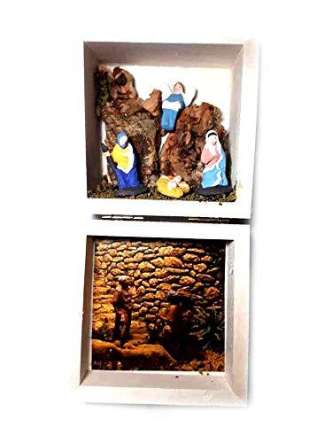Presepe in scatola legno completo 2018, 11x11 cm altezza 7,5cm sughero e legno napoletano con 4 pastori da 3,5 4 cm terracotta per statuine presepe ricevi 1 portachiavi artigianali vit