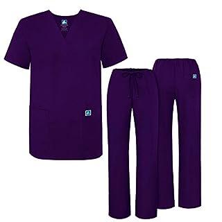 Adar Medical Uniforms Unisex Drawstring Hospital Nurse Scrub Set - 701 - Purple - XL