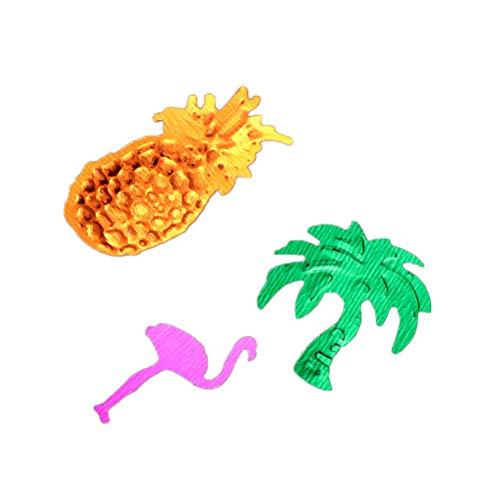 Amosfun Hawaiische Tropische Ananas-Kokosnuss-Baum-Flamingo-Glitter-Konfetti Luau-Partei-Bevorzugungs-Tischdekoration