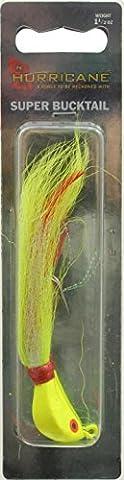 Hurricane Chartruese Striper Bucktail Jig 1.5 Ounce - Saltwater-Resistant Hook