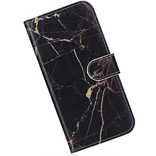Qjuegad Kompatibel mit Handyhülle Samsung Galaxy A50 Leder Hülle Marmor Muster Ledertasche Flip Wallet Cover Case Brieftasche Etui Schutzhülle Handytasche mit Kartenfach Magnetisch,Schwarz -