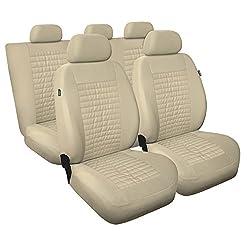 Universal Beige Polyester/Kunsleder Sitzbezüge Komplettset Sitzbezug für Auto Sitzschoner Set Schonbezüge Autositz Autositzbezüge Sitzauflagen Sitzschutz Modern