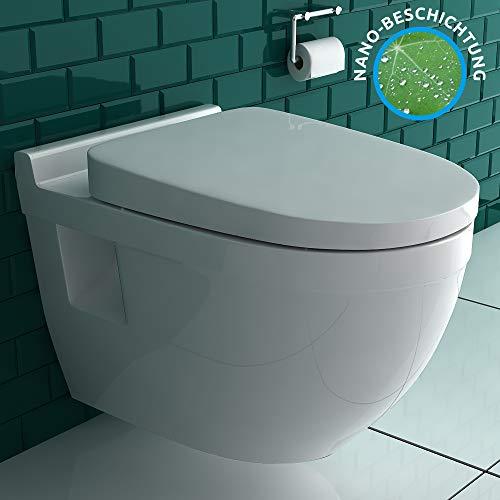 Alpenberger Hänge-WC aus robuster Keramik mit Nano-Beschichtung   inkl. WC-Deckel mit Absenkautomatik   Tiefspüler Wand-WC Platzsparendes & Zeitloses Design   passend zu GEBERIT