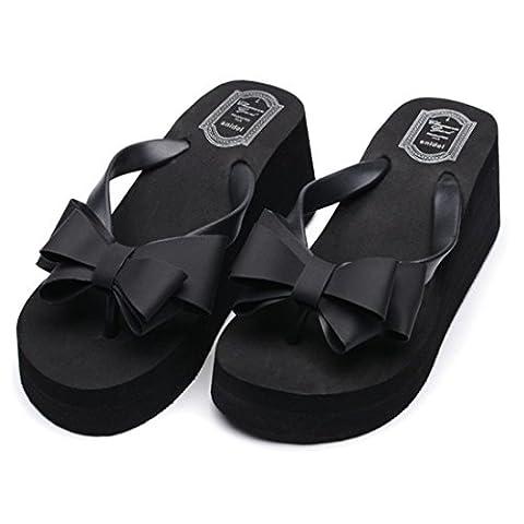 Women's Fashion Thong Wedge Beach Sandals Black / US 5