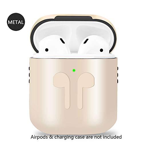 Metallische Airpods Schutzhülle Hülle 2019 Neuestes AirPods Hülle Kompatibel mit Apple Airpods 1 & 2 Kabelloses Ladecase-Version Zubehör-Kits (Für Kabelloses Ladecase-Version, Gold) -