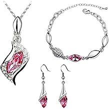 Mujeres Juego de Joyeria - SODIAL(R)Mujeres de Diamantes Imitacion de Pulsera Collar Pendientes Juego de Joyeria (Rosa Oscuro y Plata)