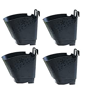 NOVICZ 4 Pcs Vertical Garden Pots and Planter Wall Hanging pots for Plants, Black Color