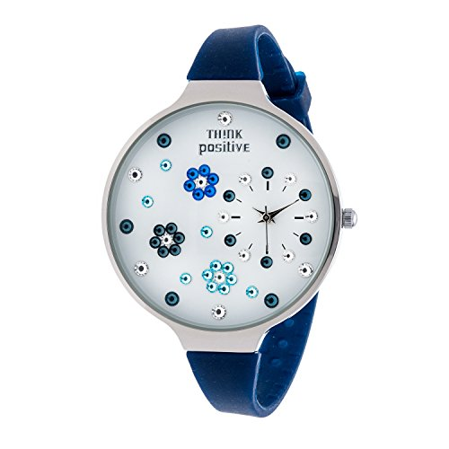ladies-think-positiver-modell-se-w112-blumen-grosse-stahlband-silikon-farbe-blau