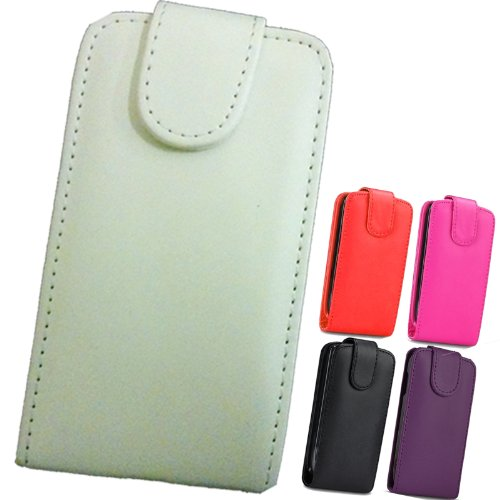 FI9 Custodia di pelle a portafoglio, in poliuretano, con pellicola protettiva per cellulari Samsung, Similpelle, - blanc, Galaxy Ace GT-S5830 S5830i S5839i
