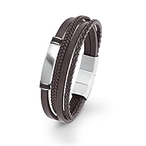s.Oliver Herren Leder-Armband Edelstahl mehrreihig braun gravierbar längenverstellbar 20+1,5cm
