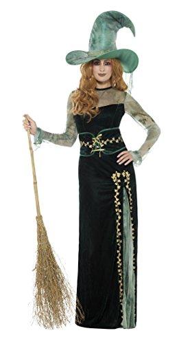 Smiffys Damen Deluxe Smaragd Hexen Kostüm, Kleid, Gürtel und Hut, Größe: 44-46, 45111